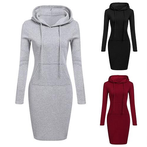 Fashion Hooded Drawstring Full Sleeves Women Dress