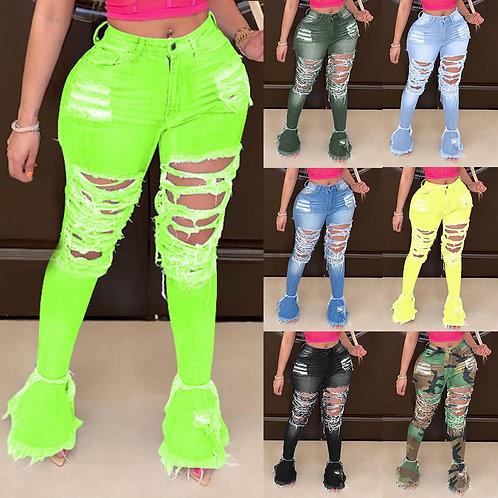 2020 Sexy Women Ripped Jeans Denim Pants for Women High Waist Jeans