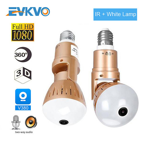 EVKVO IP Camera Bulb Lamp Light Wireless 2MP HD 360 Degrees