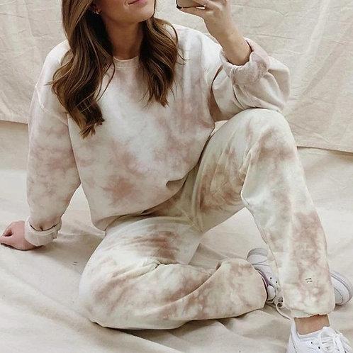 Women Tie Dye Tracksuit Two Piece Set Pants Long Sleeve Sweatshirt