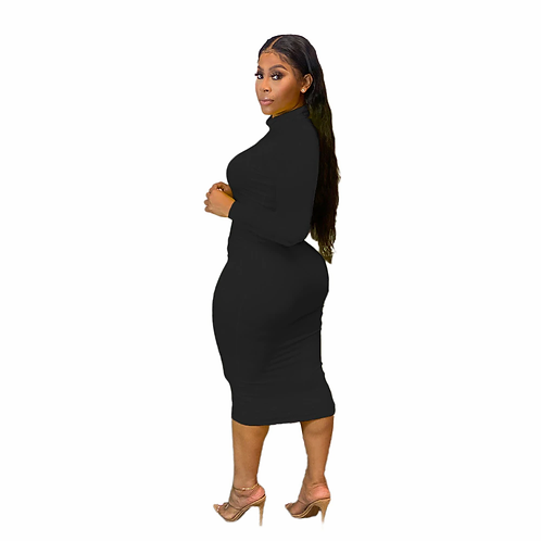 HAOOHU Sexy Plus Size Long Sleeve Midi Dress for Women Elegant Dress