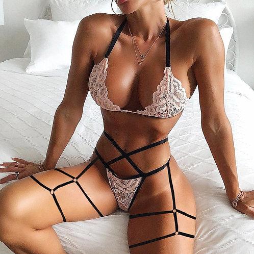 3xl Plus Size Lingerie Set Women Push Up Underwear Sexy Bandage Lingerie