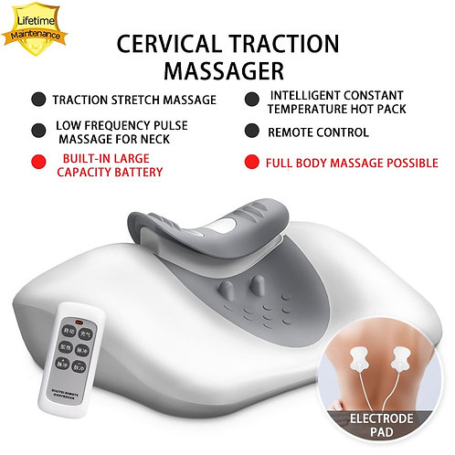 Wireless Massage Pillow Cervical Traction Massager Pulse Hot Pack