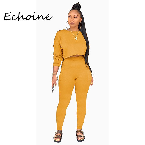 Two Pieces Set Long Sleeve Sweatshirt + Pant Suit With Pocket