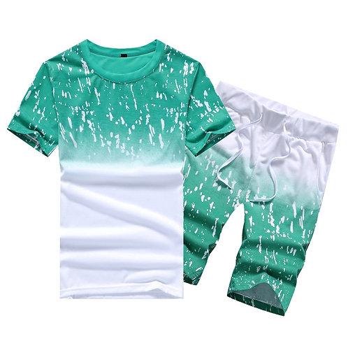 Casual Summer Men's Set Mens Print Beach Shirts Shorts Two Piece Plus Size 4XL