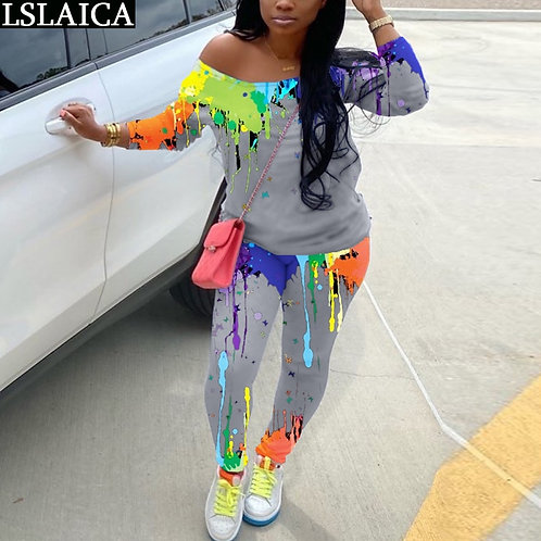 Two Piece Outfits Tie Dye Set for Women Top and Pants Tracksuit Plus Size