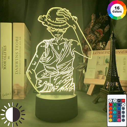ONE PIECE Monkey D Luffy Figure Night Light LED Color for Child  Desk Lamp
