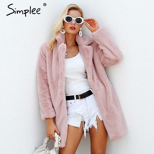 Simplee Elegant Pink Shaggy Women Faux Fur Coat
