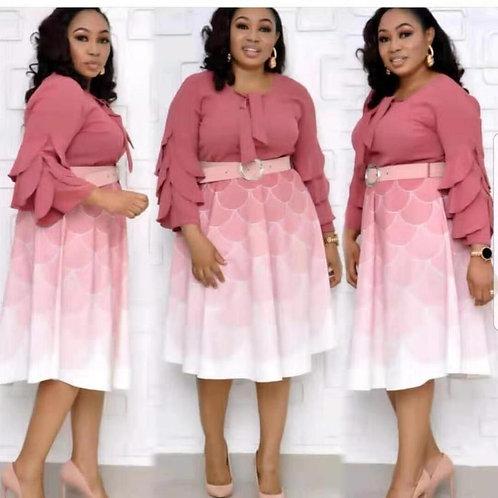 HGTE Petal Sleeve Print Women's Vintage Dress Plus Size