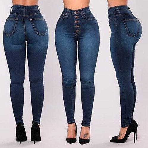 Women High Waisted Skinny Denim Jeans Ladies Slim Pants Plus Size