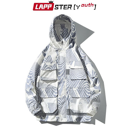 LAPPSTER-Youth Men Streetwear Reflective Jacket Hip Hop Hooded Jackets Plus Size