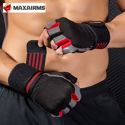 Maxairms Breathable Fitness Gloves Palm Hollow Back Gym Gloves
