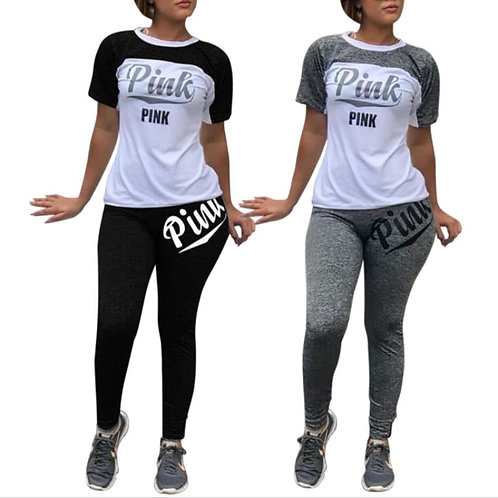 Pink Letter Casual 2 Piece Outfit Summer Short Sleeve Fit Slim Long Pants