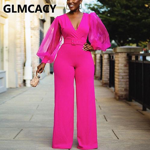 Women Mesh Lantern Sleeve v Neck Jumpsuit Elegant Belted