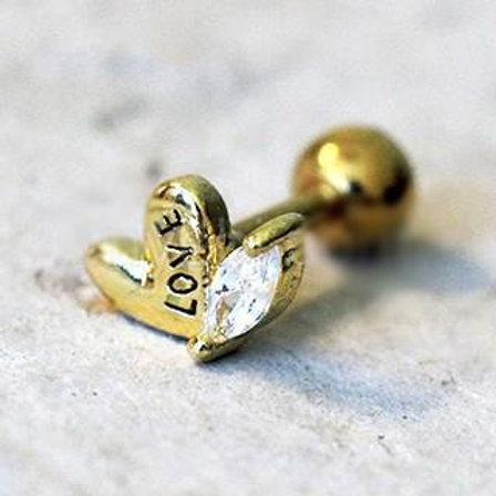 Gold Lovely Heart Cartilage Earring