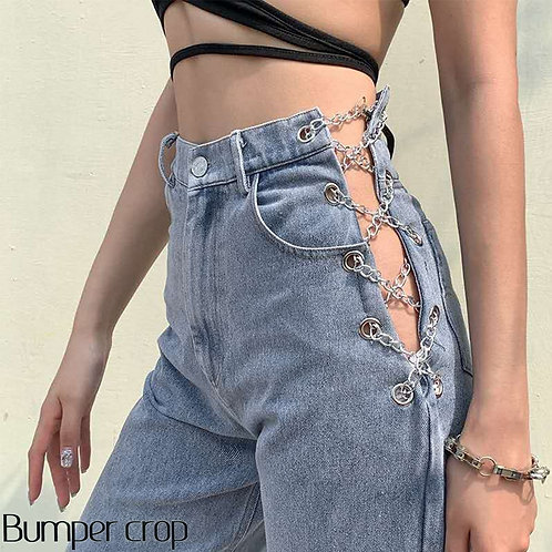 Bumpercrop 2020 Sexy Link Chain Boyfriend Jeans Women High Waisted Jeans