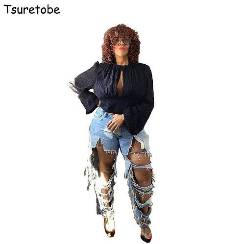 Tsuretobe Plus Size Sexy Hole Ripped Jeans Women Casual High Waist Streetwear