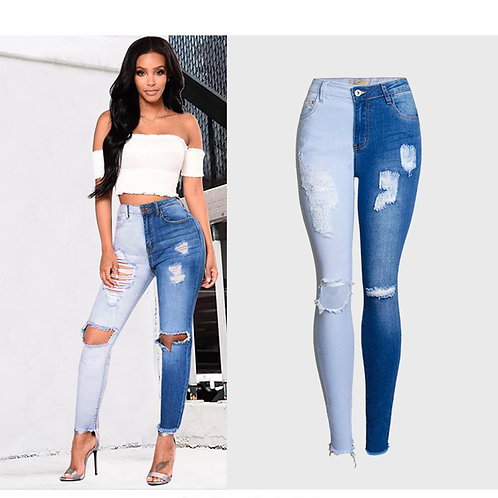 2020 Spring Summer Wash Bleaching Spliced Female Ripped Jeans for Women