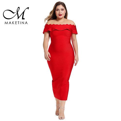 Maketina 2020 Women Off Shoulder Plus Size Bandage Dress