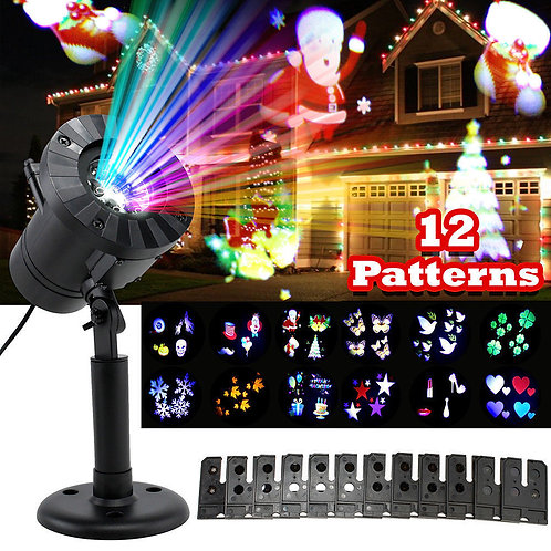 12 Patterns Mini Christmas Lights Outdoor Projector Laser Garden Light Snowflake
