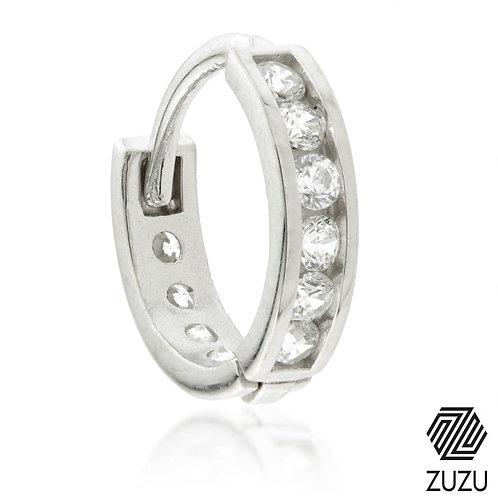 Silver Channel Crystal Cartilage Huggie Earring