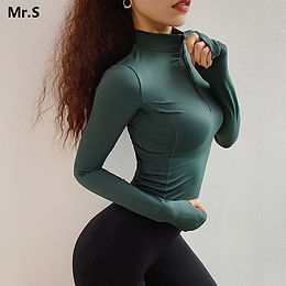 1/2 Zip Workout Crop Tops for Women Long Sleeve Yoga Shirt