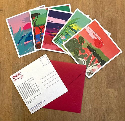 5 Cartes Postales Méditatives