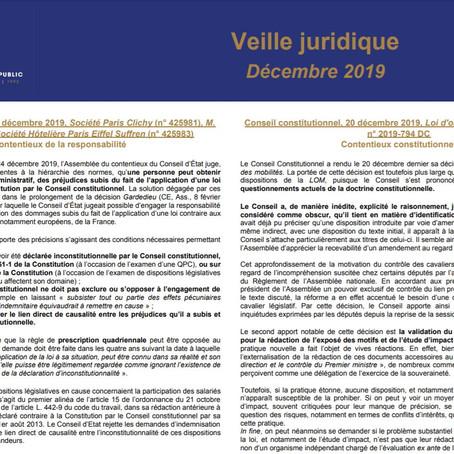 Veille juridique du mois de décembre 2019