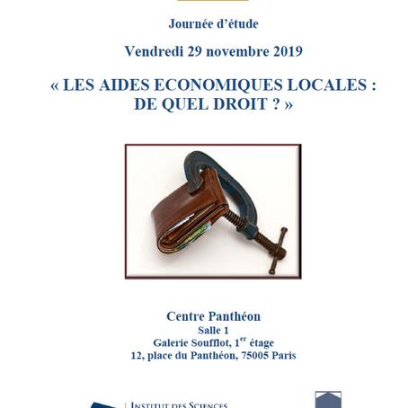 Journée d'étude sur les aides économiques locales