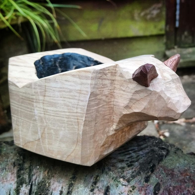 Spalted Maple Bear Bowl