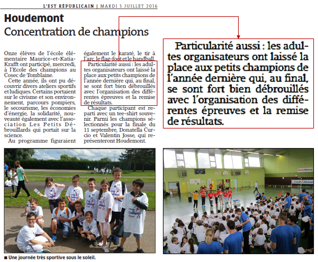 29 juin 2016 - Article Houdemont