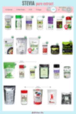 Pure Stevia Leaf Extract | BetterStevia Organic Powder | SweetLeaf Organic Stevia Leaf Extract | NuNaturals NuStevia Organic Pure Stevia | 365 Everyday Value Organic Stevia Extract Powder | Pyure Organic Stevia Extract | plnt Organic Stevia Extract | Stevia Select Organic Stevia Powder | One Organic Stevia | Natural Mate Pure Organic Stevia Extract | Microingredients Organic Stevia | Protocol for Life Balance Organic Stevia Extract | Stevita Simply-Stevia | Stevita Simply-Stevia Packets |Nature Restore Organic Stevia Leaf Extract Powder | Kal Sure Organic Stevia Extract | Trader Joe's Organic Stevia Extract | Prescribed or Life Stevia | NuNatuals Pure Stevia Extract NuStevia | SteviaSweet by Steviva | NuSci Stevia Extract | Kal Sure Stevia Extract | Hard Rhino Stevia Steviosides | BulkSupplements.com Pure Stevia Powder | Frontier Co-op Stevia Steviosides