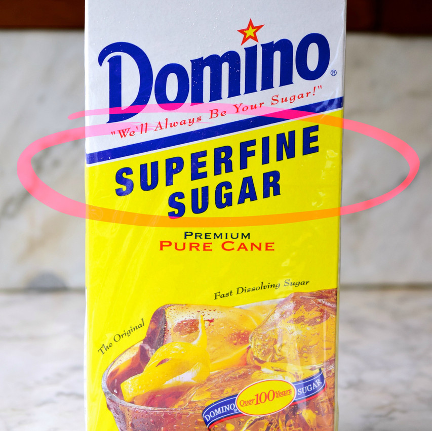 What is superfine sugar | Superfine sugar vs confectioners | Superfine sugar is a refined sugar from cane or beet. Has crystal sizes from about 0.2 to 0.3mm. Also known as quick dissolve sugar. Contains 99.95 percent sucrose.