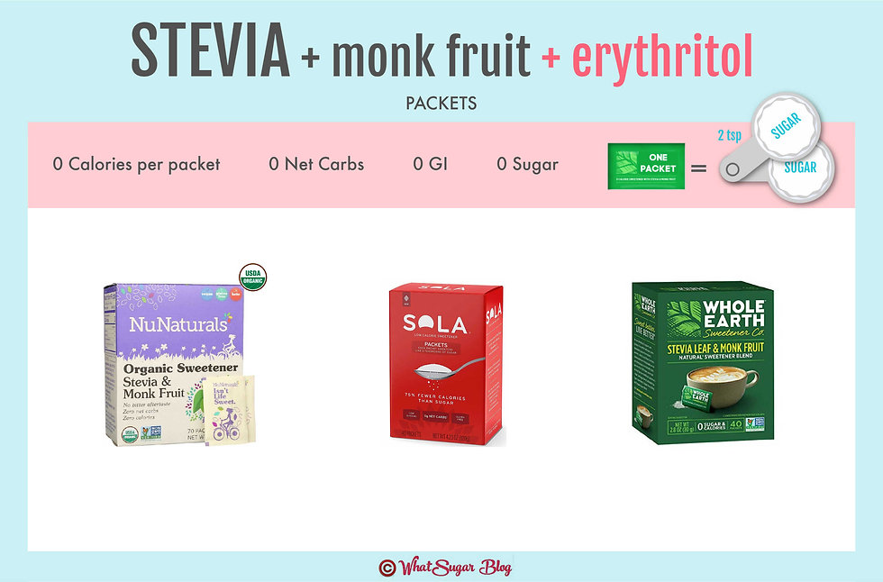 Stevia with Erythritol Packets | NuNaturals Organic Sweetener Stevia & Monk Fruit Packets | Sola Packets | Whole Earth Stevia Leaf & Monk Fruit Packets