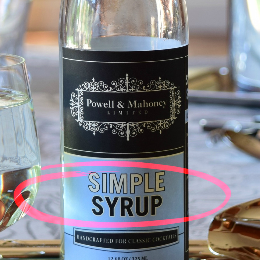 Simple syrup is simply a solution of sugar (sucrose from cane or beet) in water. There is no chemical change with sucrose when they are simply dissolved in water. They are often 1-2 part sugar for 1 part water. Commercial brands typically contain additional ingredients to avoid spoilage and crystallization.