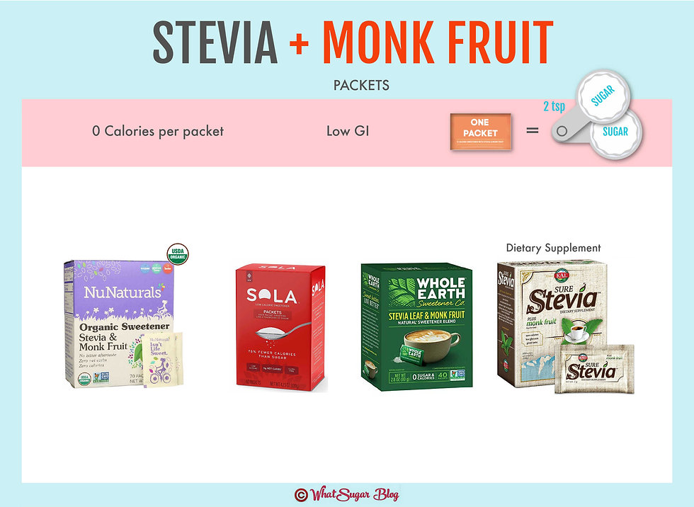 Stevia & Monk Fruit Blend Packets | NuNaturals Organic Sweetener Stevia & Monk Fruit Packets | Sola Packets | Whole Earth Stevia Leaf & Monk Fruit Packets | KAL Sure Stevia plus monk fruit