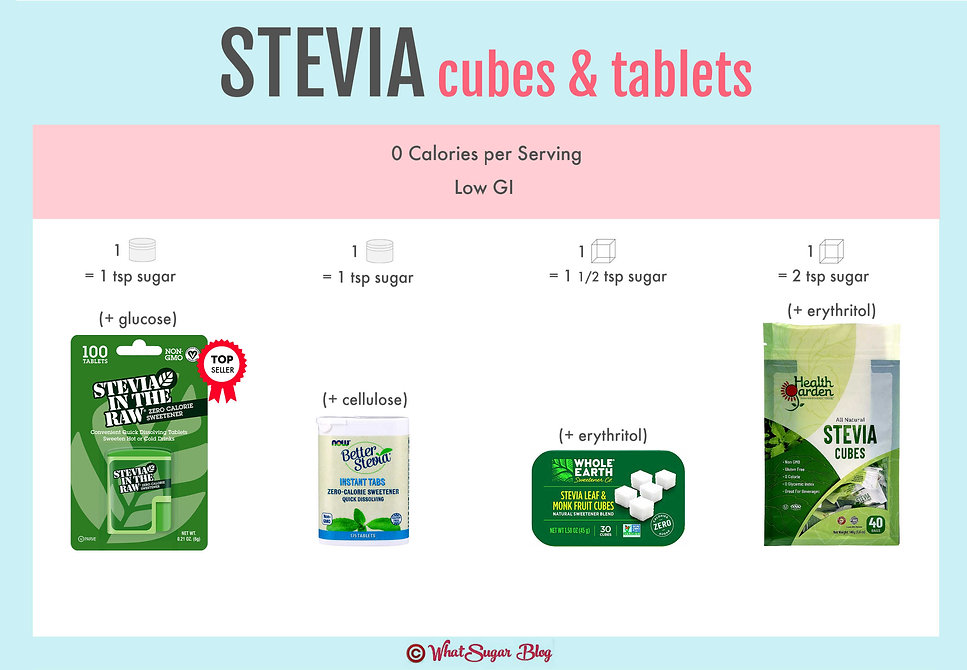 Stevia Cubes | Stevia Tablets | Stevia In The Raw Tablets | BetterStevia Instant Tabs | Whole Earth Stevia Leaf & Monk Fruit Cubes | Health Garden Stevia Cubes