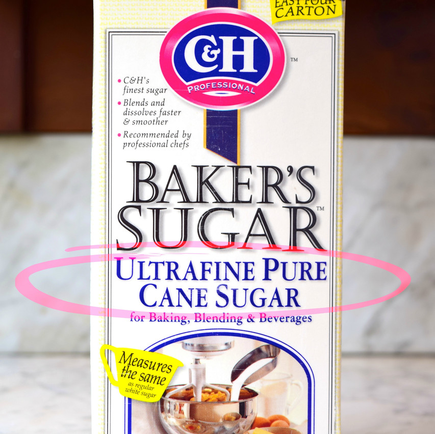 Ultrafine sugar is a refined sugar from cane or beet that typically has crystal sizes from 0.1 to 0.2mm. Contains 99.95 percent sucrose. Also called baker's special sugar, baker's sugar, or caster sugar.