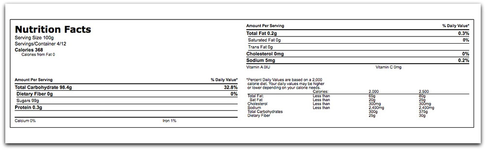 Light Muscovado Nutrition Facts