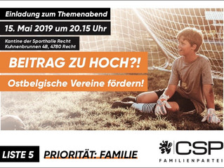 """Diskussionsabend 15. Mai: """"Ostbelgische Vereine fördern!"""""""