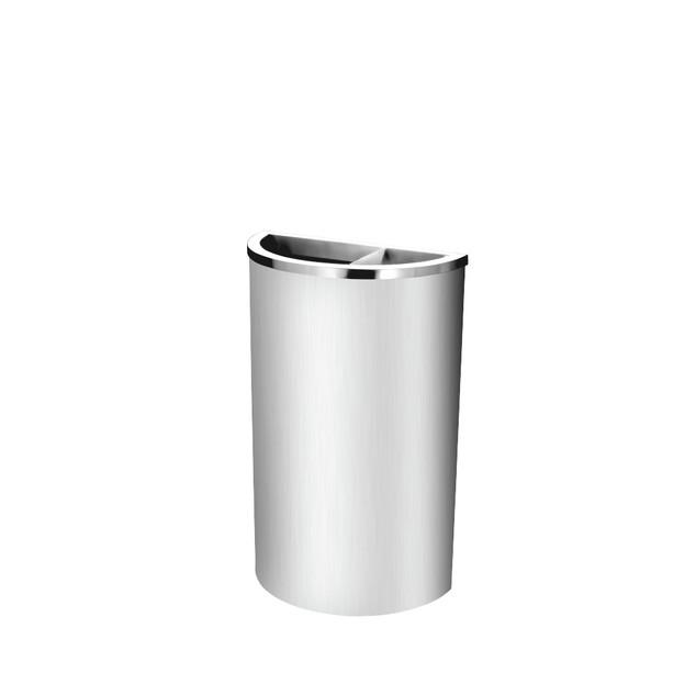 Stainless Steel Semi Round Bin c/w 2/3 Open & 1/3 Ashtray Top (SS 105)