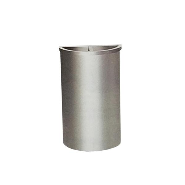 Stainless Steel Semi Round Bin c/w 1/2 Ashtray 1/2 Open Top
