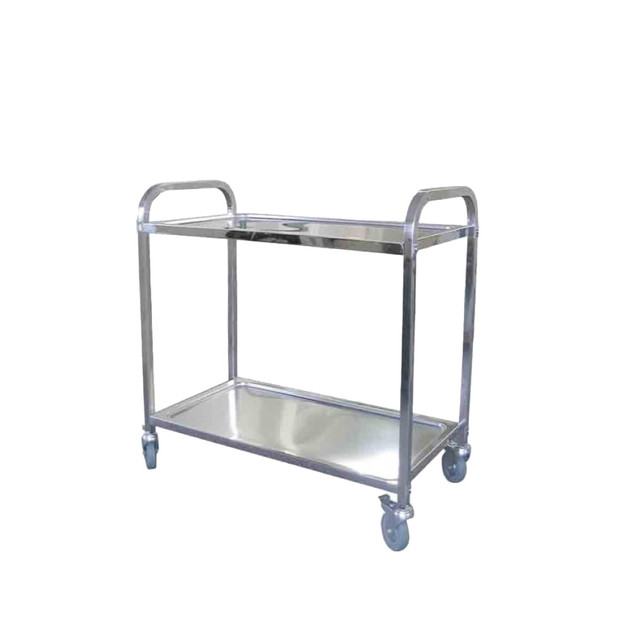 Stainless Steel 2 Tiers Restaurant Trolley