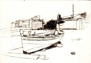 Barca in secca e baracche
