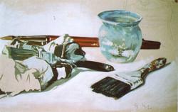 Pennelli sul tavolo, 1982