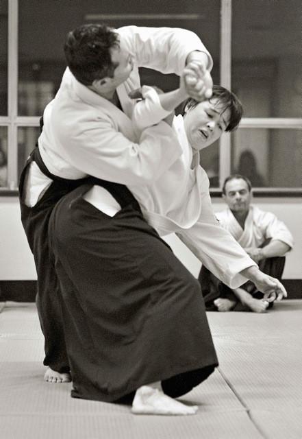 Sensei throwing Abe Sempai