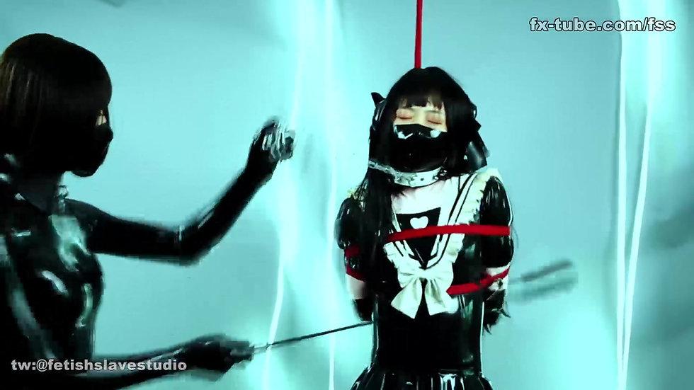 Latex lesbian cute maid bondage play part 1
