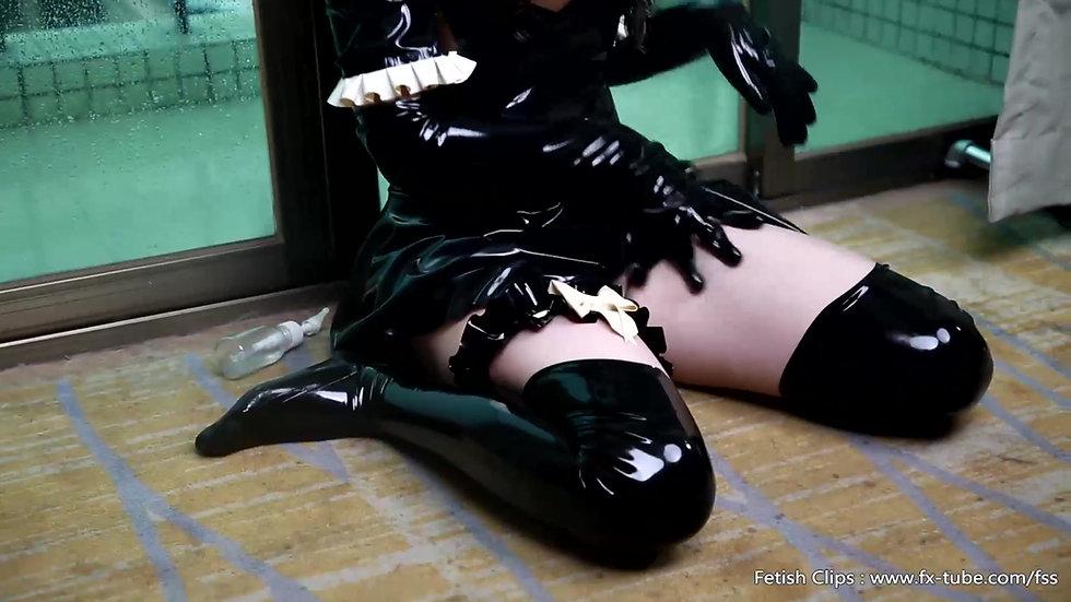 Cute latex slave girl self bondage and breathplay