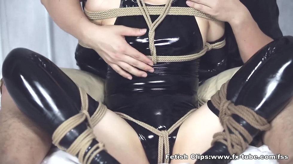 Latex swimsuit cute girl bondage