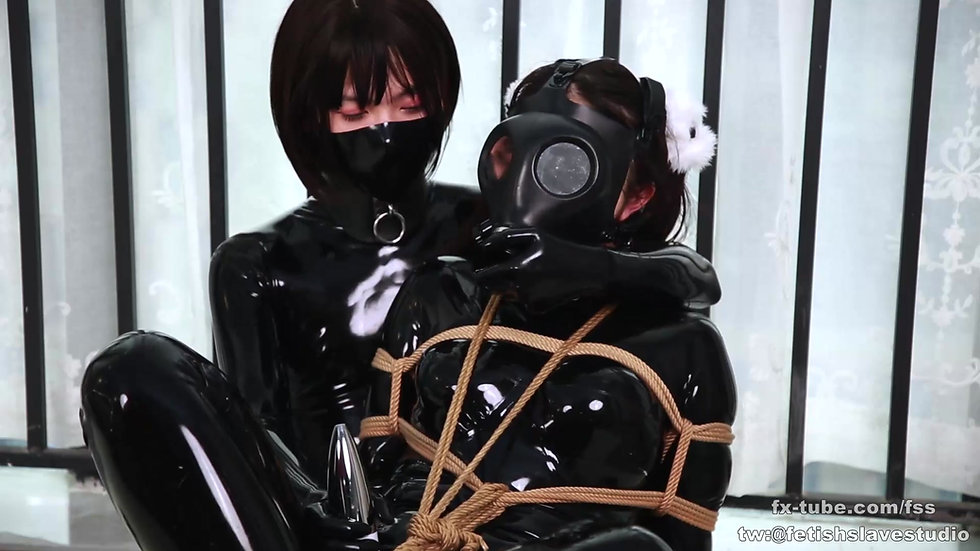 Latex lesbian rope bondage game part 2